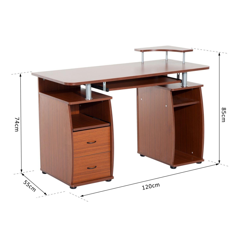 Mesa de PC Mesa de Ordenador Escritorio de Oficina Mesa con Cajonera mobiliario de despacho y oficina 120x55x85cm Madera Madera