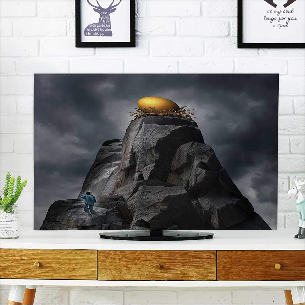 PRUNUS テレビを保護 シームレスブルー 抽象的レース背景 装飾パターン テレビを保護 幅19 x 高さ30インチ / テレビ 32インチ W35 x H55 INCH/TV 60