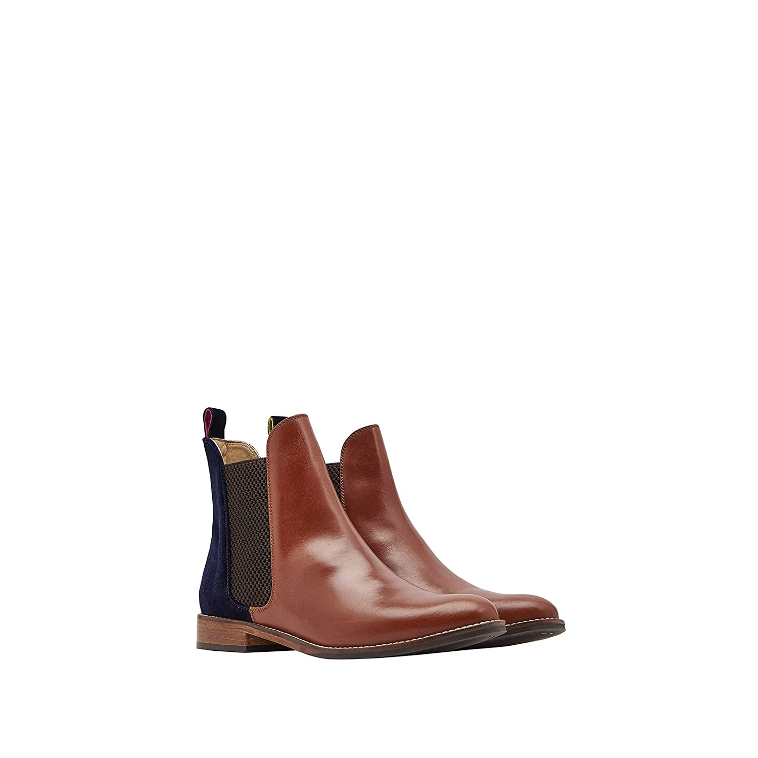 Joules Women's Westbourne Leather Chelsea Boots B073XKDRQF 7 B(M) US|Tan/Navy