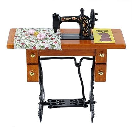 Casa de muñecas accesorio muebles miniatura máquina de coser + Tejido Pedal
