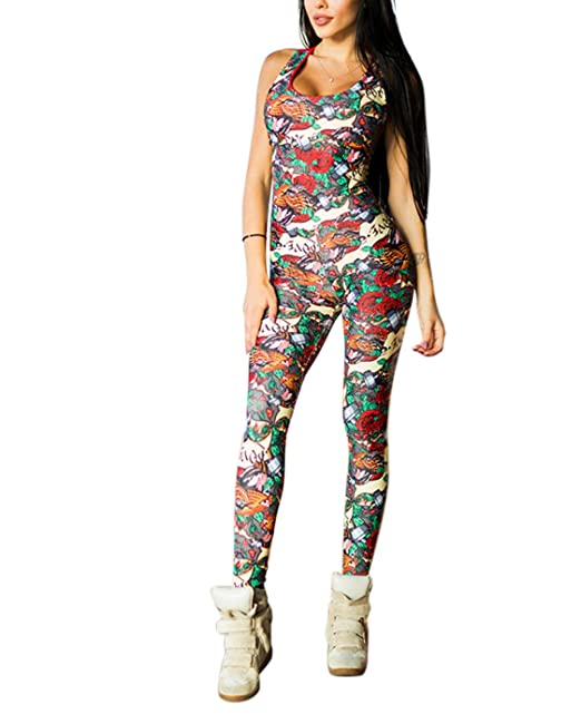 e40dfd4ed9d3f W. DRIZZLE Women Sexy Slim Stretchy Leggings, High Waist Printed Yoga Pants  Jumpsuit Tummy