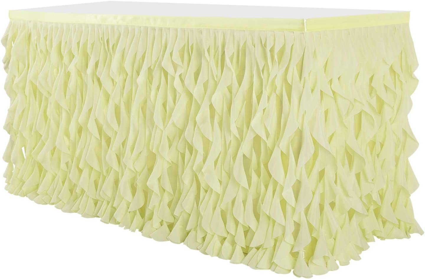 Leegleri Yellow Curly Willow Tulle Tutu Table Skirt for Rectangle or Round Table,Ruffle Table Skirts for Mermaid Party Baby Shower Decoration(6 ft table skirt)