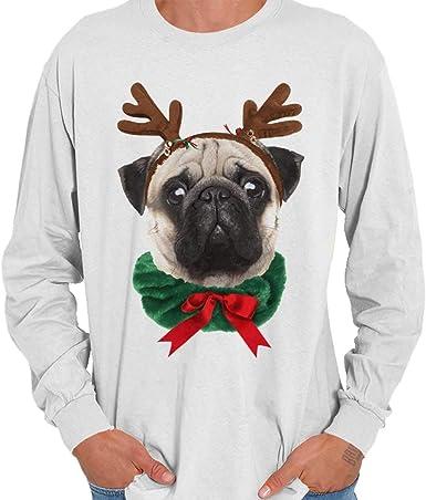 Santa Pug Let It Snow Off Shoulder Merry Christmas Party Xmas Long Sleeve Tee