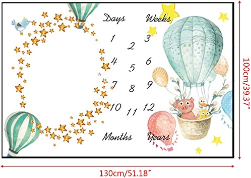 Dsxnklnd Baby Milestone Photography Blanket Hot Air Balloon Pattern Flannel Blankets
