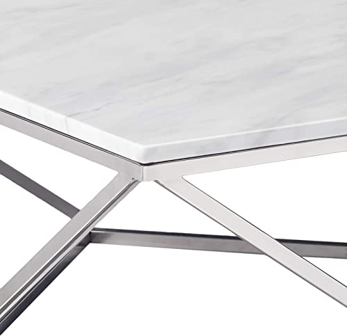 Meridian Furniture Skyler Collection Modern Contemporary Marble Top Coffee Table with Stainless Steel Base and Polished Chrome Finish, 36 L x 36 D x 14.5 H, Chrome