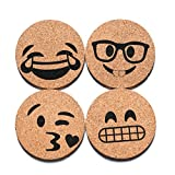 Corkologist Emoji Cork Coasters Printed, Set of 4 (Style 2)
