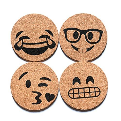 Corkologist Emoji Cork Round Beverage Coasters, Novelty Bar Drink Coaster, Set of 4 (Style 2)