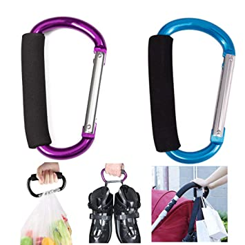 Universal Fit on Strollers /& Joggers Stroller Hooks by Clutter Armour Hook plus Detachable Straps 2//Set Extra Large for Hanging Diaper Bag Kids Backpack Purse Handy Mommy Clip Shopping Bags