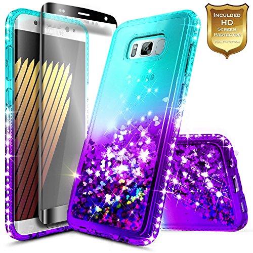 S8 Plus Case, Galaxy S8 Plus Glitter Case w/[Screen Protector Premium Clear], NageBee Liquid Quicksand Waterfall Flowing Sparkle Bling Diamond Girls Cute Case for Samsung Galaxy S8 Plus -Aqua/Purple