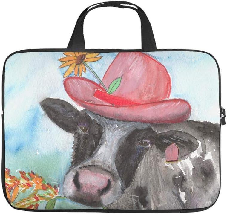 Customized Laptop Bag Oil Painting Flower Cow Print 3D Print Laptop Computer Handbag Scratch Resistant Polyester Tablet Handbag Laptop Accessory White 13inch