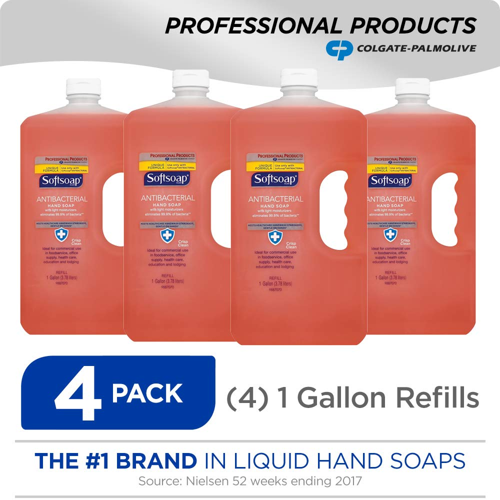 SOFTSOAP Antibacterial Liquid Hand Soap Refill, Crisp Clean, Antiseptic Hand Soap, Moisturizing Hand Soap, 1 Gallon (Pack of 4) (201903)
