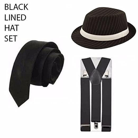 Gangster Mafia Pimp adultos disfraces CORBATA sombrero tirantes ...