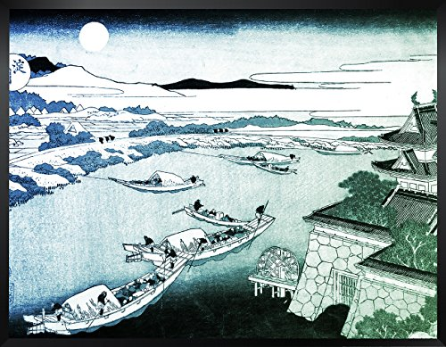ArtVerse HOK017F1418A Japanese River in Moonlight in Blue and Green Framed Art Print 14