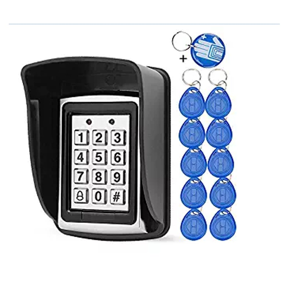 10 RFID Keychains + Waterproof Rain Cover + Rfid Metal Keypad Supports 1000 Users Wiegand-26 Interface (Input/Output)