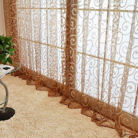 Solid Sweet Floral Tulle Voile Door Window Curtains Black - 2