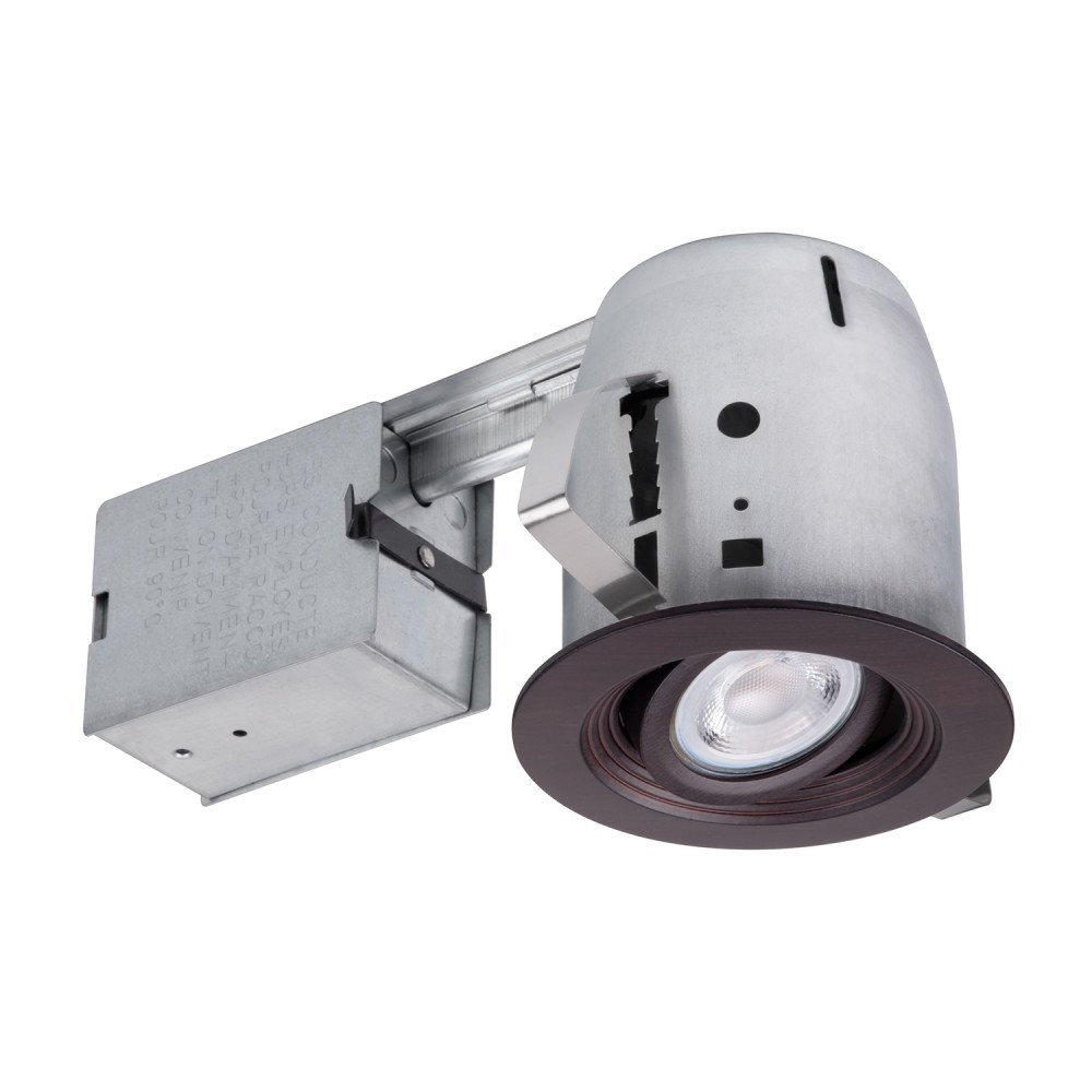 Globe Electric 4'' Die-Cast Recessed Lighting Kit, Regressed Swivel Spotlight, Dimmable, Oxide Bronze Finish, Halogen Bulb Included, 9097701