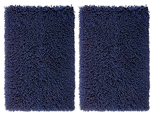 Kids Soft Chenille Braided Rug - Cotton Craft - 2 Piece Micro Fiber Chenille Bath Mat Rug Set - 21x32 - Navy Super Absorbent Super Soft Plush Hand Tufted Heavy Weight Construction - Easy Care Machine wash