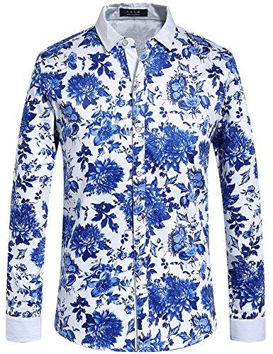 Mens New Cotton Hawaiian Shirt - SSLR Men's Floral Cotton Casual Long Sleeve Hawaiian Shirt (Small, Blue (HH120))
