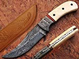 Bobs Own Hunting Knife Damascus Steel Blade Bone Handle For Sale