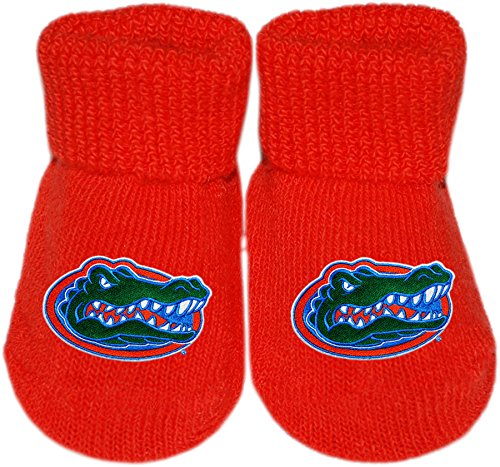 Florida Gator Head (University of Florida Gators Gator Head Logo College NCAA Licensed Solid Color Newborn Baby Bootie Sock)