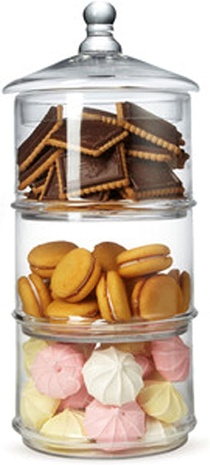 Mygift 16 Inch 3 Tier Stacking Apothecary Jars Round Glass Candy And Cookie Dishes Amazon Ca Home Kitchen
