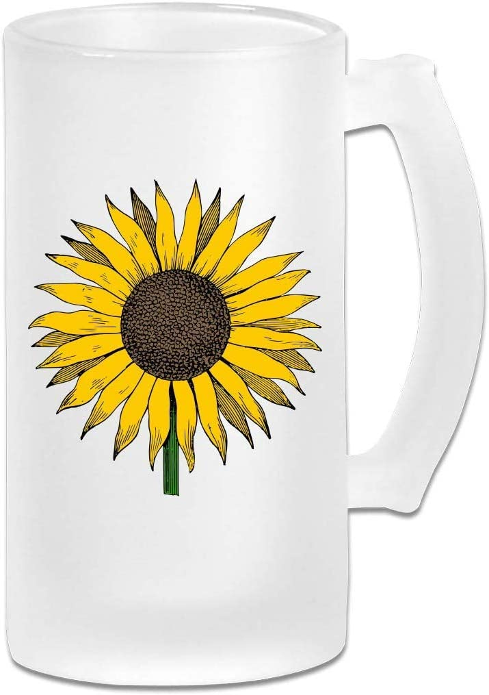 16oz Traditional Sunflower Freezer Beer Stein with Handle Double Wall Frosty Beer Mug