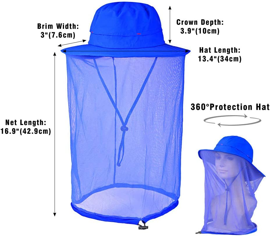 KISSBELLY Mosquito Head Net Hat Beekeeper Hat Face and Sun Protection Bucket Hat Fishing Hat with Hidden Net Mesh Protection for Outdoor Unisex