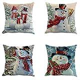 Flyou 4pcs Happy Christmas Pillow Cover Decorative Cotton Linen Sofa Pillow Case Cushion Cover Pumpkin Ghosts Pillowcases Home Decor