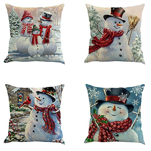Flyou 4pcs Happy Christmas Pillow Cover Decorative Cotton Linen Sofa Pillow Case Cushion Cover Pumpkin Ghosts Pillowcases Home Decor