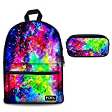 Youngerbaby Galaxy Print Casual Backpack Flower School Bag Students Kids Travel Backpacks 2Pcs