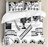 Movie Theater Twin Duvet Cover Sets 4 Piece Bedding Set Bedspread with 2 Pillow Sham, Flat Sheet for Adult/Kids/Teens, Movie Industry Themed Greyscale Illustration of Projector Film Slate and Reel