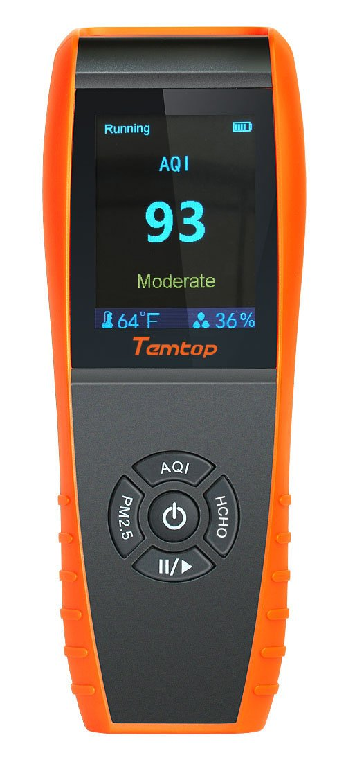 Temtop LKC-1000S Professional Formaldehyde Monitor Temperature and Humidity Detector with PM2.5/PM10/HCHO/AQI/Particles Accurate Testing Air Quality Detector Elitech