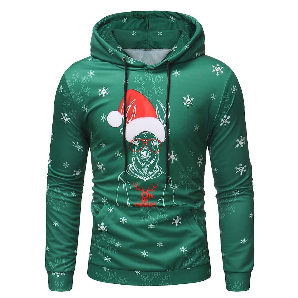 Mens Hooded Creative Digital Print Christmas Pattern Pullover Casual Sweatshirt Hoodies