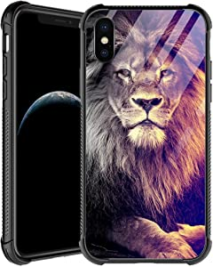 iPhone XR Case,Lion Gaze iPhone XR Cases for Men Boys,Shockproof Anti-Scratch Soft TPU Pattern Design Case for Apple iPhone XR 6.1-inch Lion Gaze