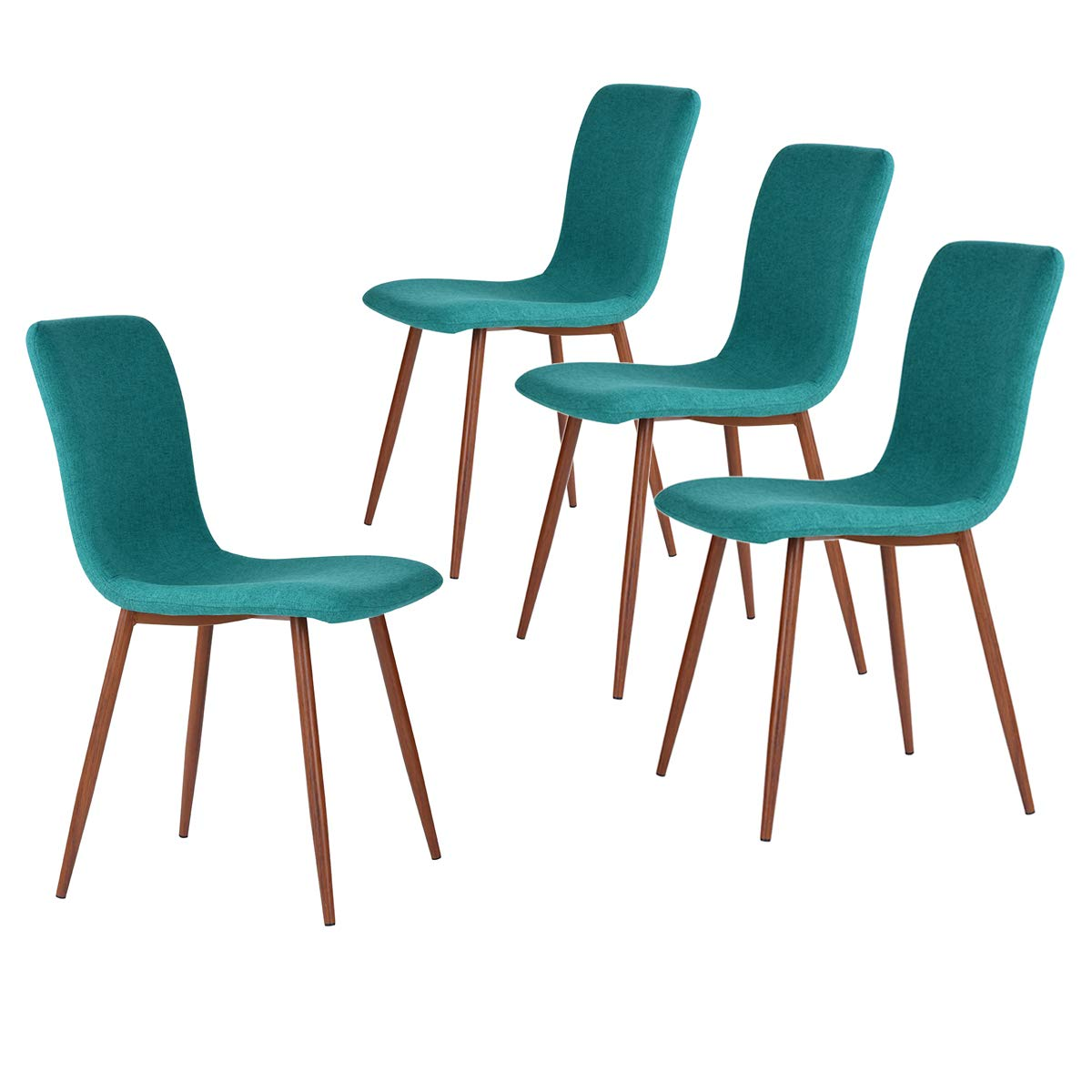 FurnitureR Dining Chair, Unique Stylem, Fabric Cushion, Natural Wood Legs, Armless, Green, 4 Piece