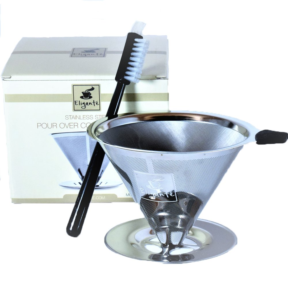 Eligantè COFFEE DRIPPER STAINLESS STEEL w/ Free Cleaning Brush. Pour Over Coffee Large 4 Cups (Double Mesh) by Eligante (Image #1)