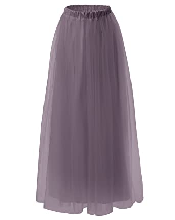 24416d4dfe DRESSTELLS Long Tulle Skirt Maxi Tutu Skirt Petticoat Floor Length Formal  Skirt Grey 2XL