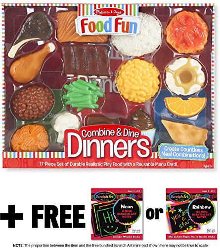 Combine & Dine Dinners: Food Fun Toy Play Set + FREE Melissa & Doug Scratch Art Mini-Pad Bundle (82679)