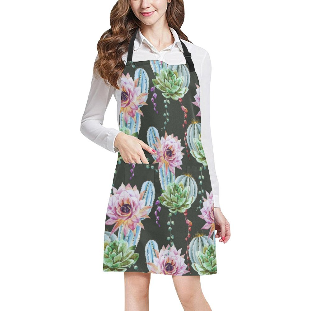 Kitchen Aprons Beautiful Cactus Adjustable Bib Apron With Pockets For Women