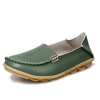 ea4a723184e Lucksender Womens Leather Driving Shoes Loafers Boat Shoes 5B(M) US Army  Green