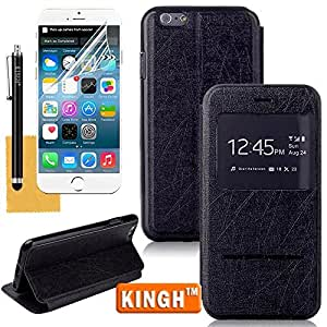iPhone 6 Slim Case,KINGH(TM)Ultra Thin Flip Window View Time/Calendar/Signals Protective Leather Case Cover Fit For Apple iPhone 6 4.7 Inch,with Screen Protector,Cleaning Cloth and Touch Stylus(Black)