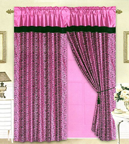 Black/Pink Flocking Leopard Satin Window Curtain Drape Set+Sheer Liner+Valance