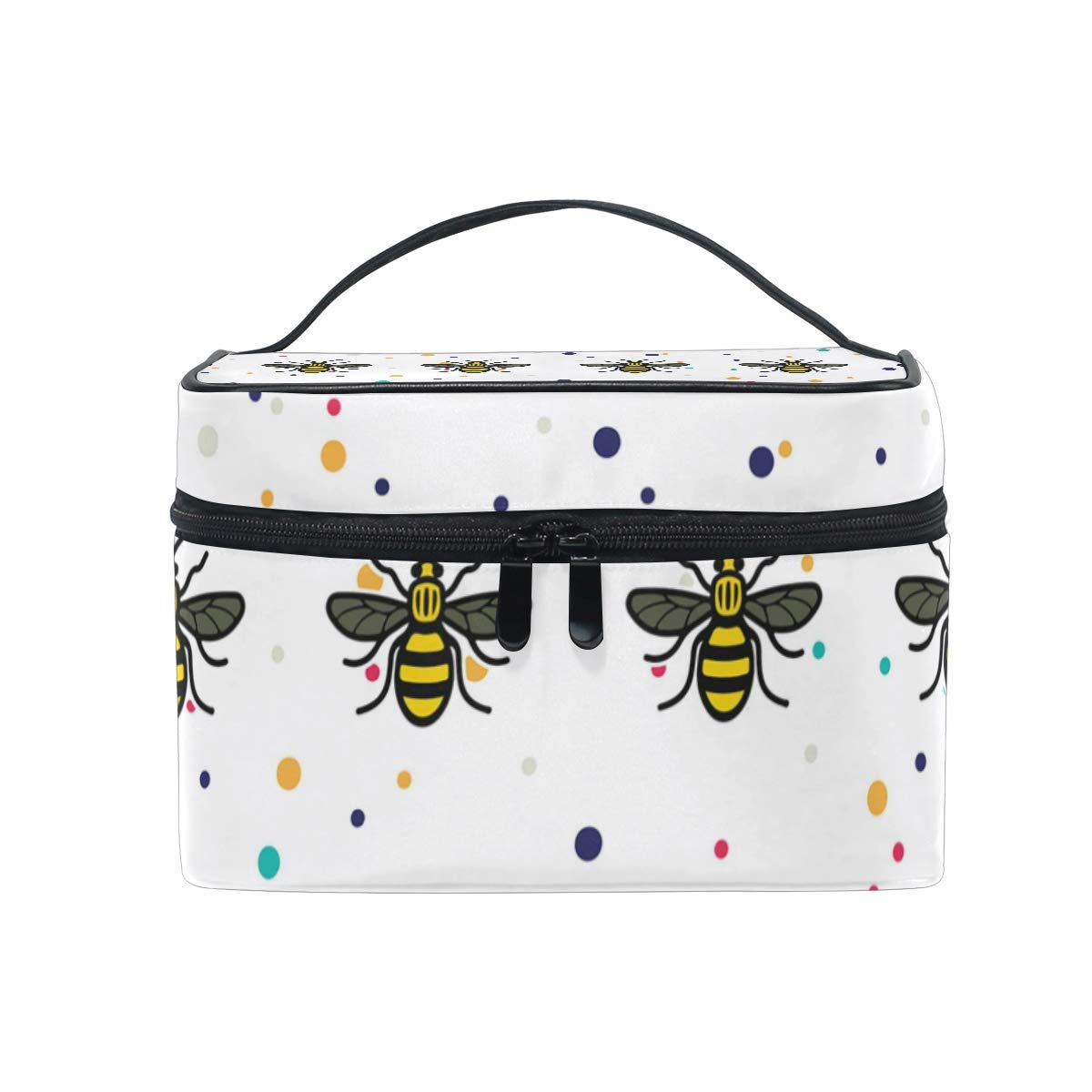 dab10dca67 Amazon.com   Manchester Bee Cosmetic Bags Organizer- Travel Makeup Pouch  Ladies Toiletry Train Case for Women Girls