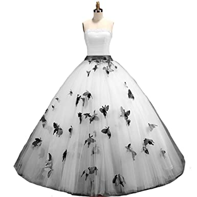 Kivary Strapless A Line Butterfly Flowers Pearls Long Prom Gowns ...