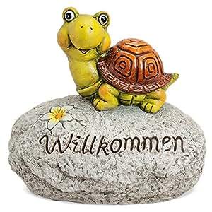 """matches21Tortuga en piedra con texto """"Willkommen–Figura decorativa de sonido 1STK. 31x 21x 29cm"""