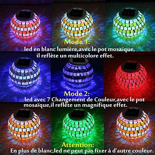 SOLMORE Lampe Solaire LED Veilleuse Mosaïque Verre ...