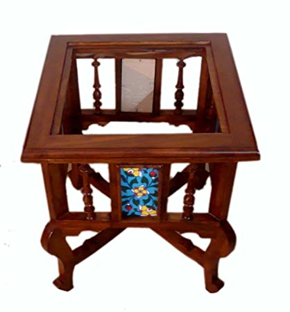 Kamoni Teak Wood Traditional Antique Look Corner Small Coffee Table With Glass Top Brown 18x15x15 Inch