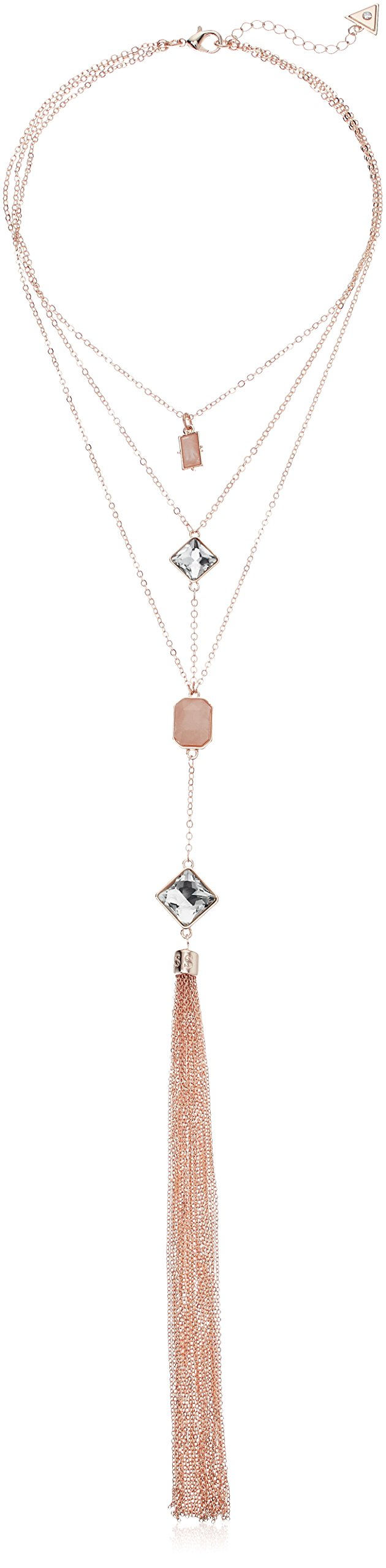 GUESS Love Struck Women's Layer Y Shaped Necklace W Stones, Rose Gold, One Size