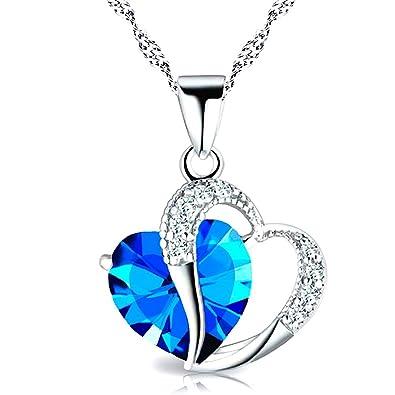 bcc1cfe0f802 Kim Johanson Herz Kette Blau Annabel Silber mit Zirkonia Steinchen besetzt  Halskette   Anhänger inkl.