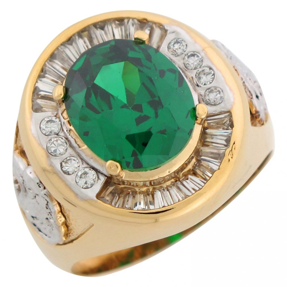 Jewelry Liquidation 10k Two Tone Gold Simulated Emerald CZ Lion Head Accents Mens Ring